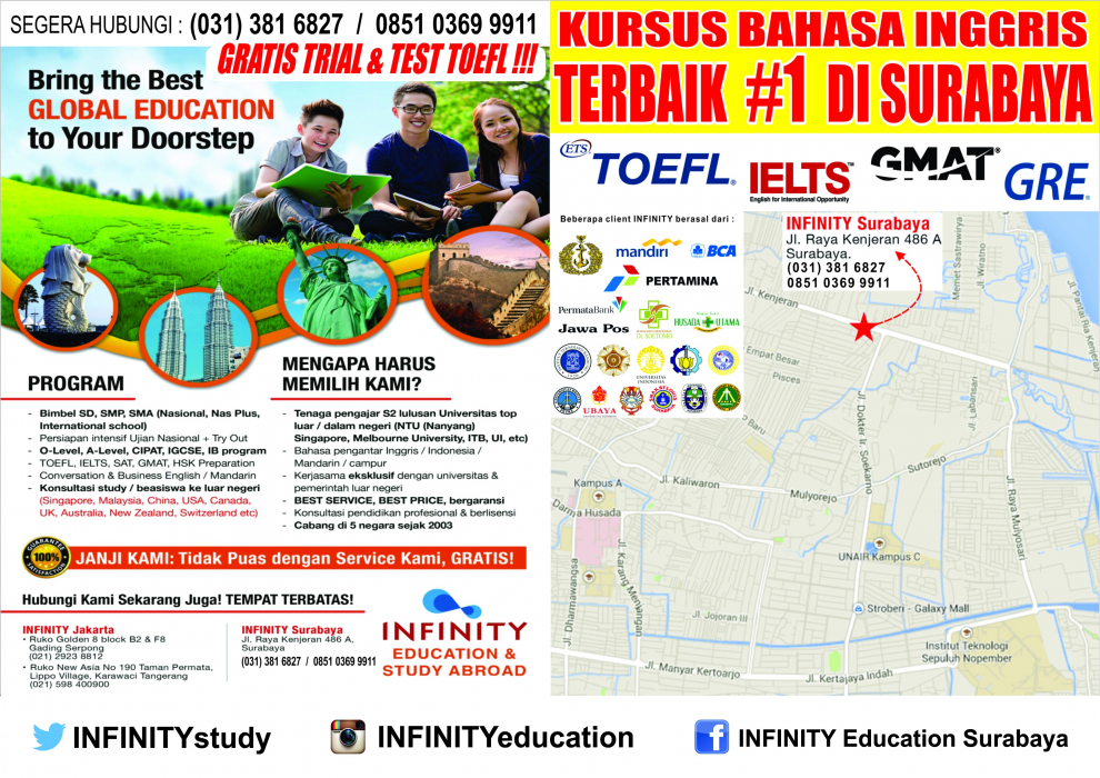 gallery/infinity education kursus toefl ielts gmat gre sat surabaya